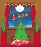 Scheda di nuovo anno felice con Santa Immagine Stock Libera da Diritti