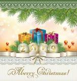 Scheda di nuovo anno felice Contenitore di regalo 3D, arco del nastro, numero dorato 2019 sulle palle illustrazione vettoriale