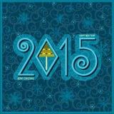 Scheda di nuovo anno felice Illustrazione del blu di vettore Fotografie Stock
