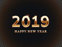 Scheda di nuovo anno felice Le carte dorate dell'invito della festa a sorpresa degli amici con il testo dell'oro vector l'illustr Immagine Stock