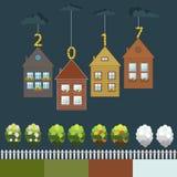 Scheda di nuovo anno felice Regali di Real Estate Quattro stagioni royalty illustrazione gratis