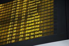 Scheda di partenza dell'aeroporto fotografia stock