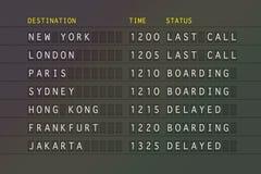 Scheda di partenza di volo Immagine Stock
