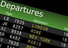 Scheda di partenze dell'aeroporto Fotografie Stock