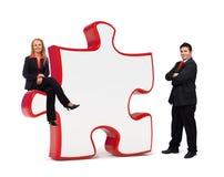 Scheda di puzzle delle soluzioni di affari - Copyspace Fotografie Stock