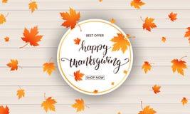 Scheda di ringraziamento Calligrafia felice di ringraziamento e foglie di autunno di caduta su fondo di legno Giorno di ringrazia Immagine Stock