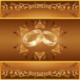 Scheda di saluto o dell'invito di cerimonia nuziale con gli anelli Fotografia Stock Libera da Diritti