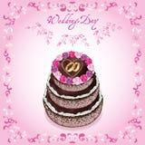 Scheda di saluto o dell'invito di cerimonia nuziale con la torta Fotografia Stock