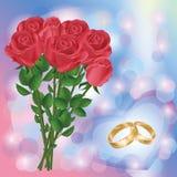 Scheda di saluto o dell'invito di cerimonia nuziale con le rose rosse Immagini Stock