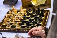 Scheda di scacchi antica Immagine Stock