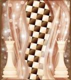 Scheda di scacchi con il re e la regina Fotografie Stock