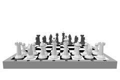 Scheda di scacchi con le figure Isolato su priorità bassa bianca Fotografia Stock