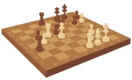 Scheda di scacchi con le parti Fotografia Stock Libera da Diritti
