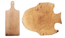 Scheda di taglio di legno isolata su priorità bassa bianca Fotografia Stock Libera da Diritti