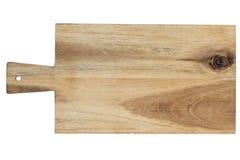 Scheda di taglio di legno isolata su priorità bassa bianca immagine stock libera da diritti