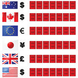 Scheda di tassi di valuta Fotografie Stock