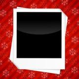 Scheda di vacanze invernali con i blocchi per grafici in bianco della foto Immagini Stock