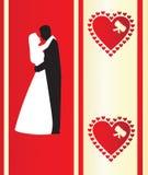 Scheda di Valentineâs con il silhou Immagini Stock Libere da Diritti