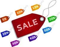 Scheda di vendita da denim Fotografie Stock Libere da Diritti