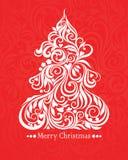 Scheda di vettore con l'albero di Natale Immagini Stock