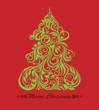 Scheda di vettore con l'albero di Natale Immagini Stock Libere da Diritti