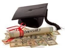 Scheda, diploma e valuta del mortaio Fotografia Stock Libera da Diritti