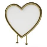 Scheda dorata Heart-shaped del segno, isolata su bianco Fotografia Stock