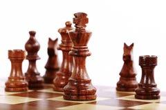 Scheda e parti di scacchi Fotografia Stock Libera da Diritti