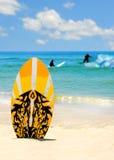 Scheda e surfisti di spuma Immagini Stock