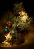 Scheda eccellente di nuovo anno con i maiali Fotografie Stock