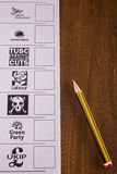 Scheda elettorale BRITANNICA per un'elezione generale fotografie stock libere da diritti