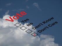Scheda elettorale di voto Fotografia Stock Libera da Diritti