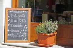 Scheda esterna del menu del ristorante Immagine Stock