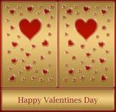 scheda felice dei biglietti di S. Valentino dell'oro Fotografie Stock