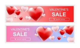 Scheda felice di giorno di Valentineâs Insieme di progettazione dell'insegna di vendita di giorno dei valentine's Fotografie Stock Libere da Diritti