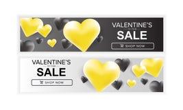 Scheda felice di giorno di Valentineâs Insieme di progettazione dell'insegna di vendita di giorno dei valentine's Immagine Stock Libera da Diritti