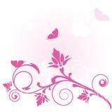 Scheda floreale con le farfalle illustrazione vettoriale