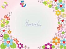 Scheda floreale con le farfalle sveglie royalty illustrazione gratis