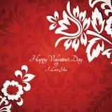 Scheda floreale del biglietto di S. Valentino dell'annata Immagine Stock Libera da Diritti