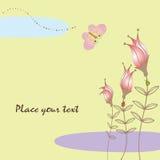 Scheda floreale di primavera con la farfalla Fotografia Stock