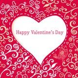Scheda floreale disegnata a mano romantica del giorno del biglietto di S. Valentino Fotografie Stock