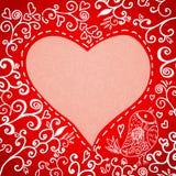 Scheda floreale disegnata a mano romantica del giorno del biglietto di S. Valentino Immagini Stock Libere da Diritti