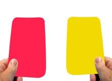 Scheda gialla d'avvertimento e scheda rossa immagini stock libere da diritti