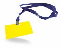 Scheda gialla di identificazione e sagola blu Fotografie Stock Libere da Diritti
