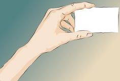 Scheda illustrata imprecisa della holding della mano Fotografia Stock