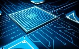 Scheda madre blu con il CPU Immagini Stock
