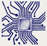 Scheda madre con il microchip Fotografie Stock