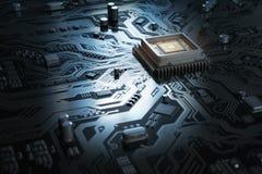 Scheda madre del computer con il CPU Chip del sistema del circuito con il co Immagini Stock