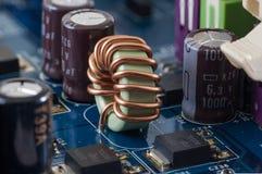 Scheda madre, elettronica del computer - regolatore della luminosità fotografia stock