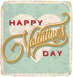 scheda Mano-indicata da lettere dei biglietti di S. Valentino dell'annata Immagini Stock Libere da Diritti